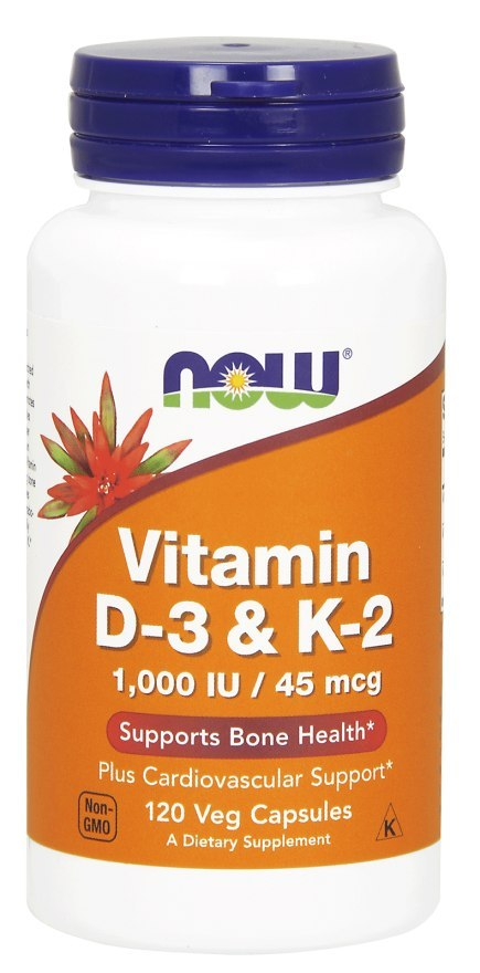 NOW FOODS Witamina D-3 & K-2 120kaps. (1000IU/45mcg)